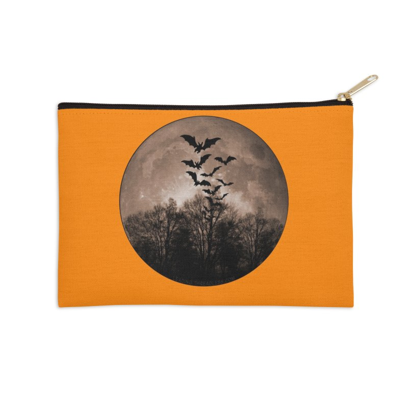 Halloween Moon With Bats Accessories Zip Pouch by Leading Artist Shop