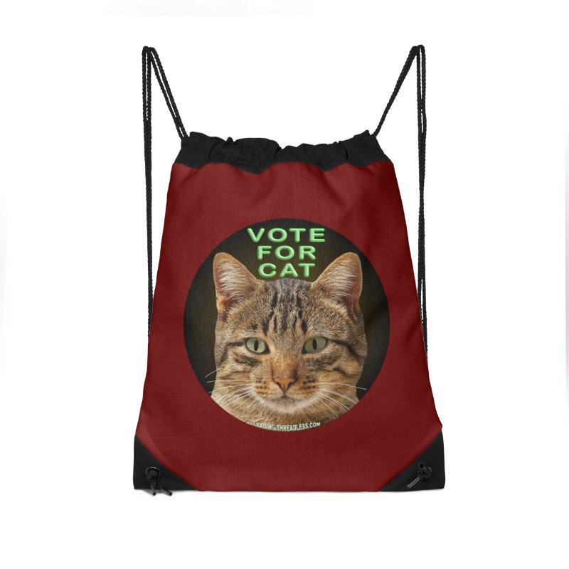 Vote For Cat Accessories Drawstring Bag Bag by Leading Artist Shop