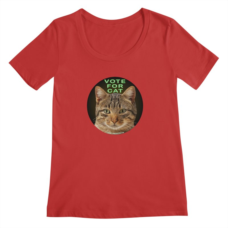 Vote For Cat Women's Regular Scoop Neck by Leading Artist Shop