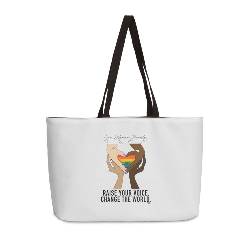 Raise Your Voice Accessories Weekender Bag Bag by Leading Artist Shop