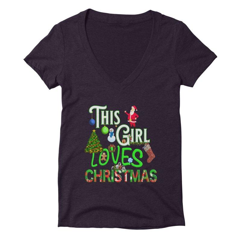 This Girl Loves Christmas Women's Deep V-Neck V-Neck by Leading Artist Shop