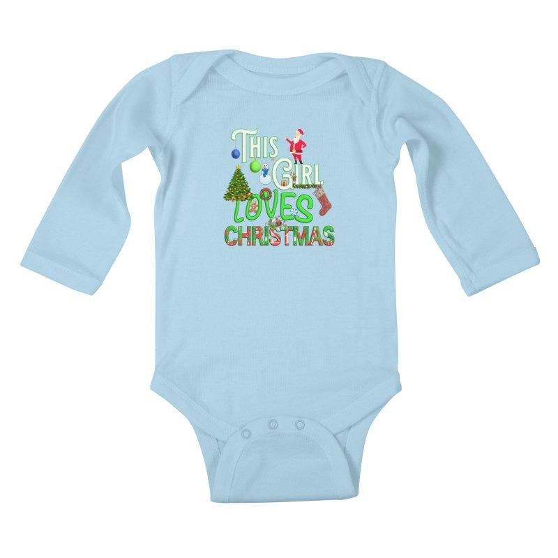 This Girl Loves Christmas Kids Baby Longsleeve Bodysuit by Leading Artist Shop