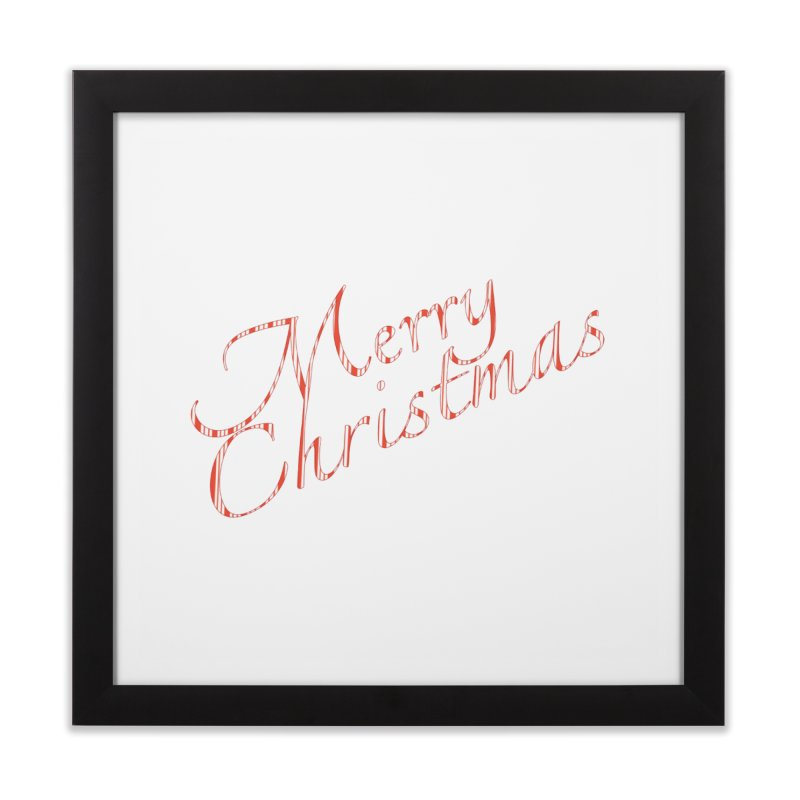 Merry Christmas Shirt Candy Cane Text Home Framed Fine Art Print by Leading Artist Shop