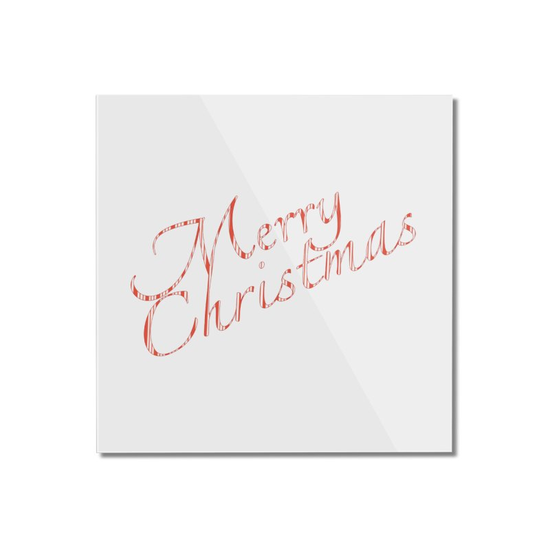 Merry Christmas Shirt Candy Cane Text Home Mounted Acrylic Print by Leading Artist Shop