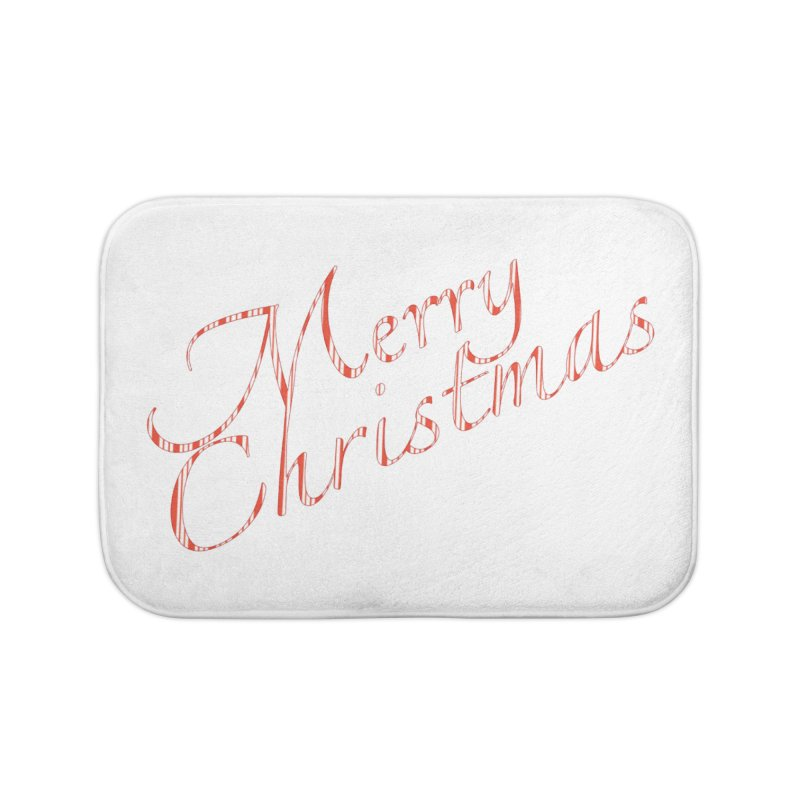 Merry Christmas Shirt Candy Cane Text Home Bath Mat by Leading Artist Shop