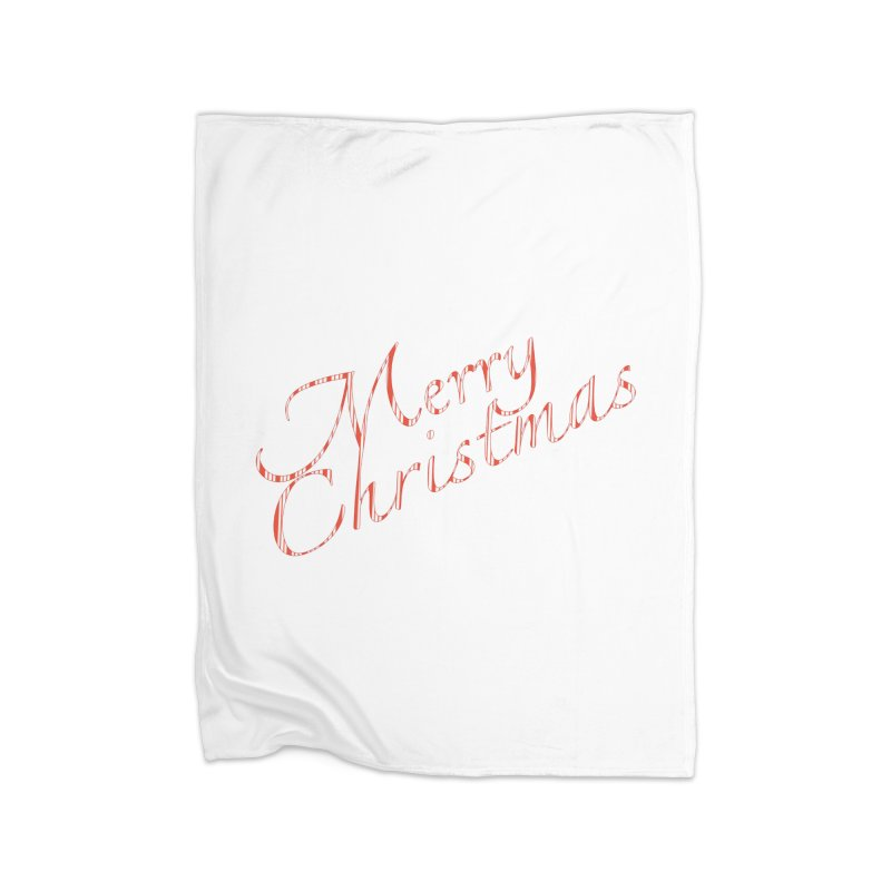 Merry Christmas Shirt Candy Cane Text Home Fleece Blanket Blanket by Leading Artist Shop