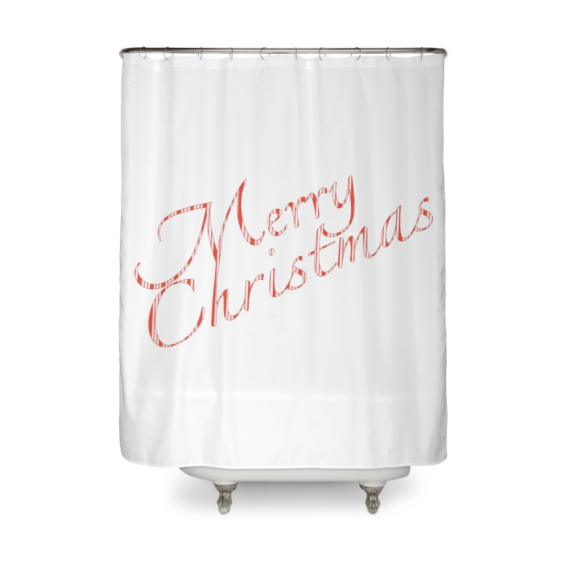 Merry Christmas Shirt Candy Cane Text Home Shower Curtain by Leading Artist Shop
