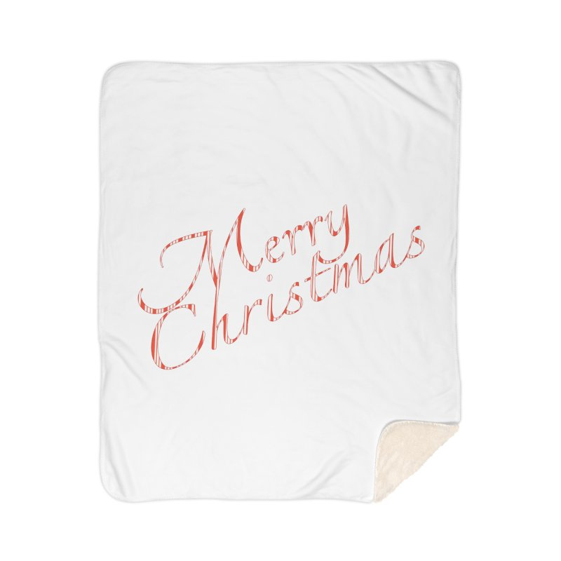 Merry Christmas Shirt Candy Cane Text Home Sherpa Blanket Blanket by Leading Artist Shop