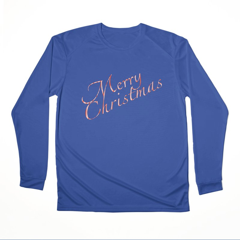 Merry Christmas Shirt Candy Cane Text Men's Performance Longsleeve T-Shirt by Leading Artist Shop