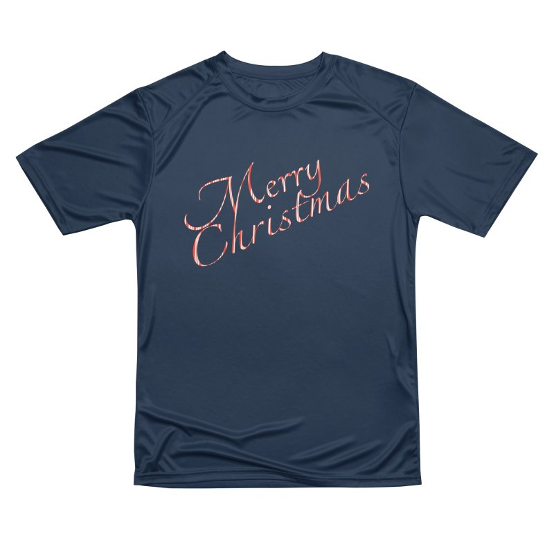Merry Christmas Shirt Candy Cane Text Men's Performance T-Shirt by Leading Artist Shop