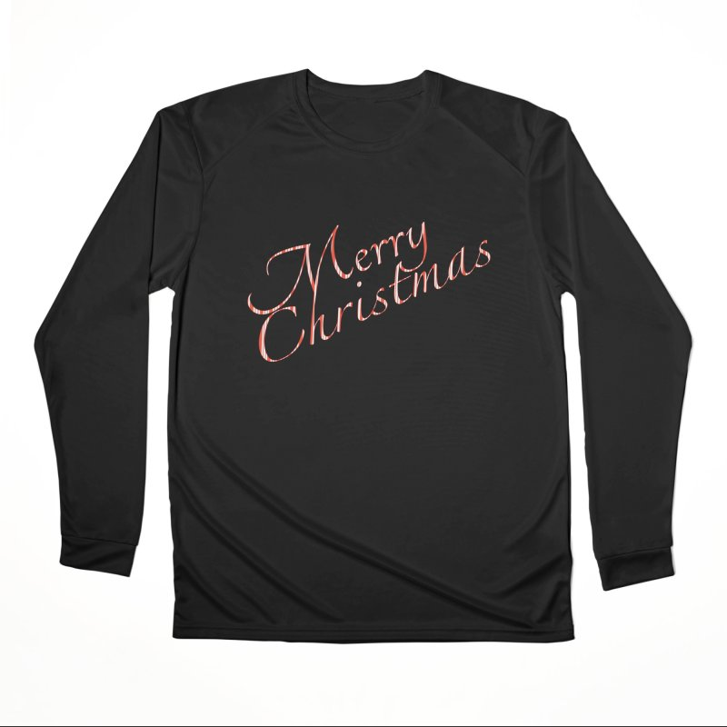 Merry Christmas Shirt Candy Cane Text Women's Performance Unisex Longsleeve T-Shirt by Leading Artist Shop