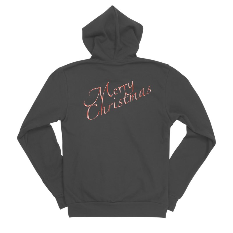 Merry Christmas Shirt Candy Cane Text Men's Sponge Fleece Zip-Up Hoody by Leading Artist Shop