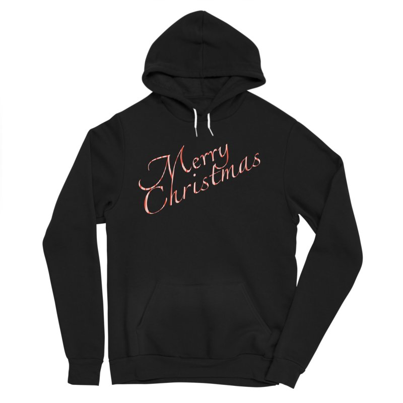 Merry Christmas Shirt Candy Cane Text Women's Sponge Fleece Pullover Hoody by Leading Artist Shop