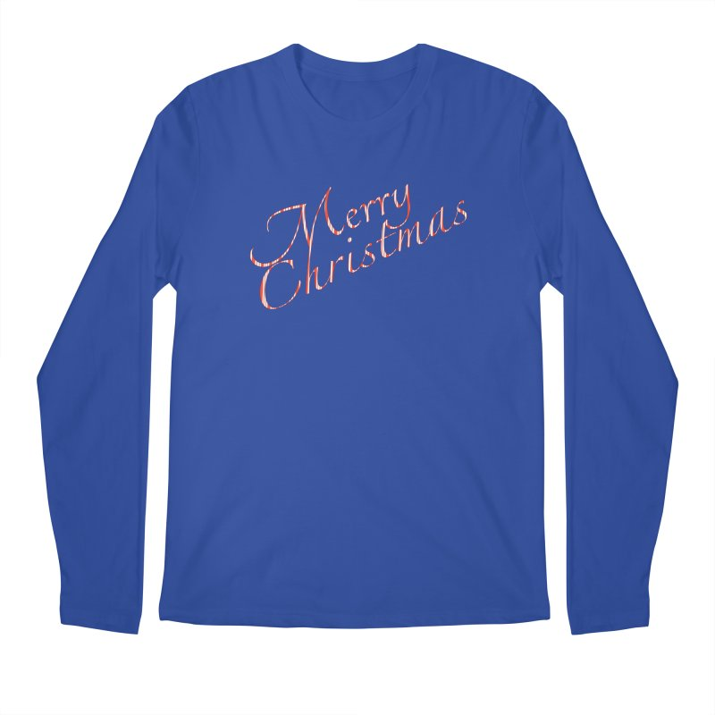 Merry Christmas Shirt Candy Cane Text Men's Regular Longsleeve T-Shirt by Leading Artist Shop