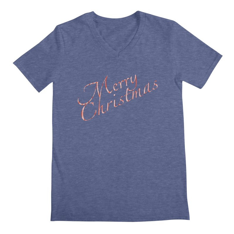 Merry Christmas Shirt Candy Cane Text Men's Regular V-Neck by Leading Artist Shop