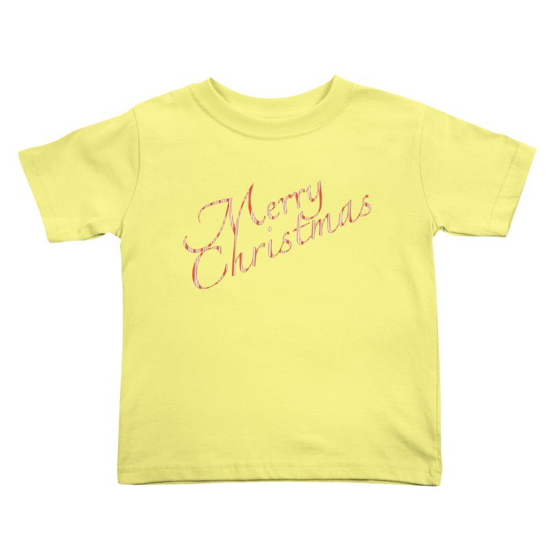 Merry Christmas Shirt Candy Cane Text Kids Toddler T-Shirt by Leading Artist Shop