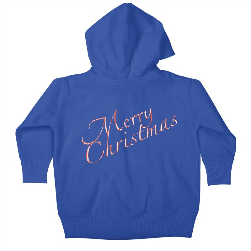Merry Christmas Shirt Candy Cane Text Kids Baby Zip-Up Hoody by Leading Artist Shop
