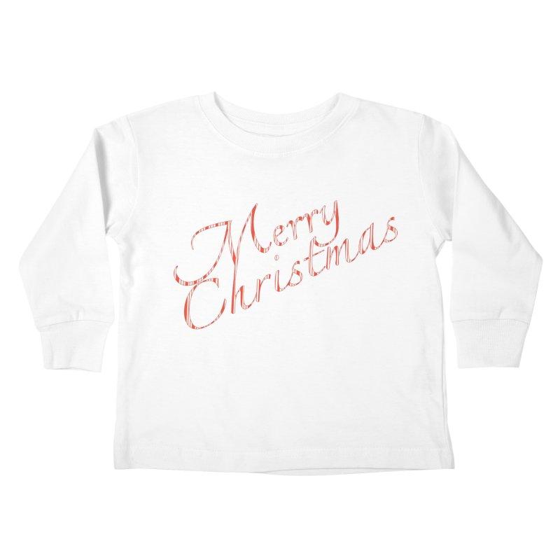 Merry Christmas Shirt Candy Cane Text Kids Toddler Longsleeve T-Shirt by Leading Artist Shop