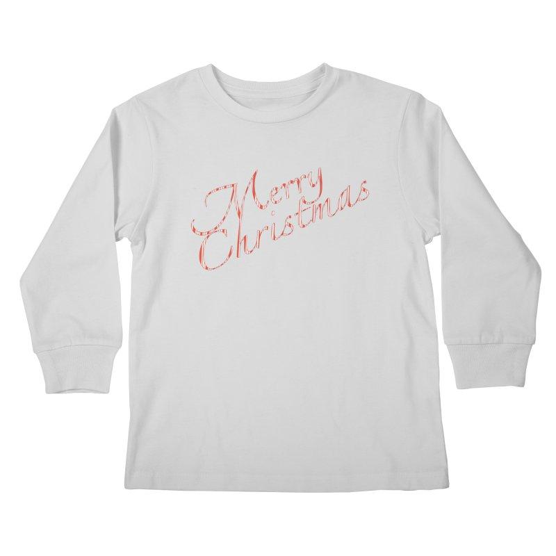 Merry Christmas Shirt Candy Cane Text Kids Longsleeve T-Shirt by Leading Artist Shop