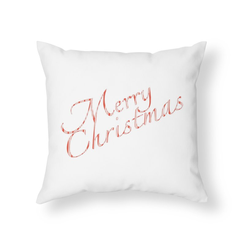 Merry Christmas Shirt Candy Cane Text Home Throw Pillow by Leading Artist Shop