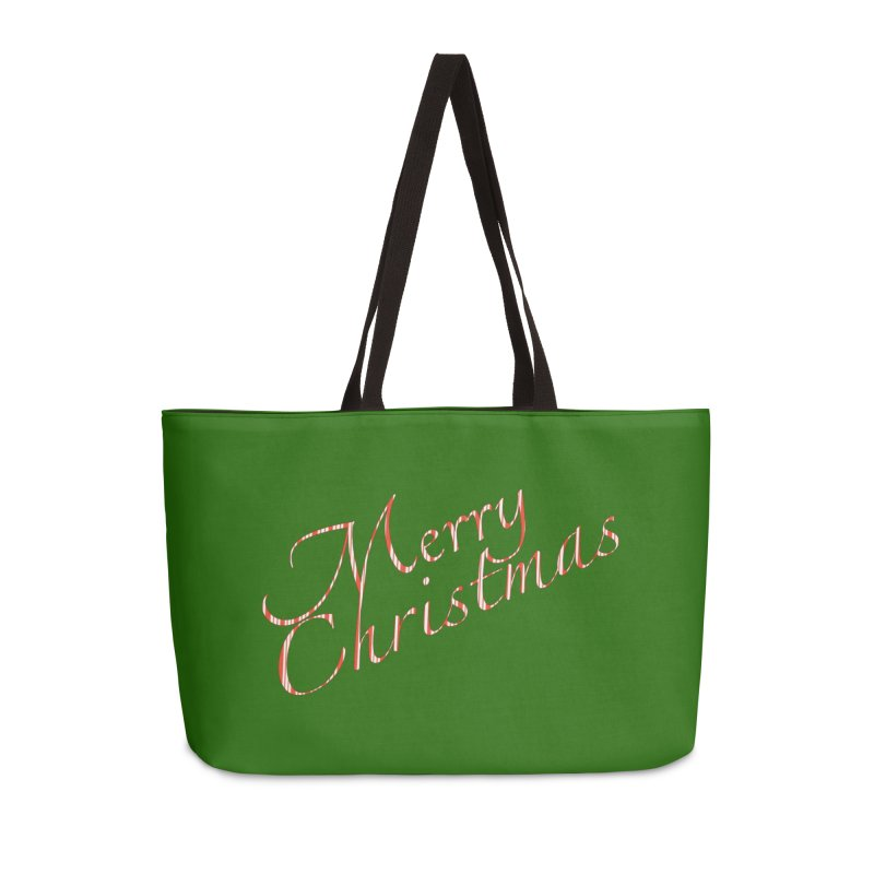 Merry Christmas Shirt Candy Cane Text Accessories Weekender Bag Bag by Leading Artist Shop