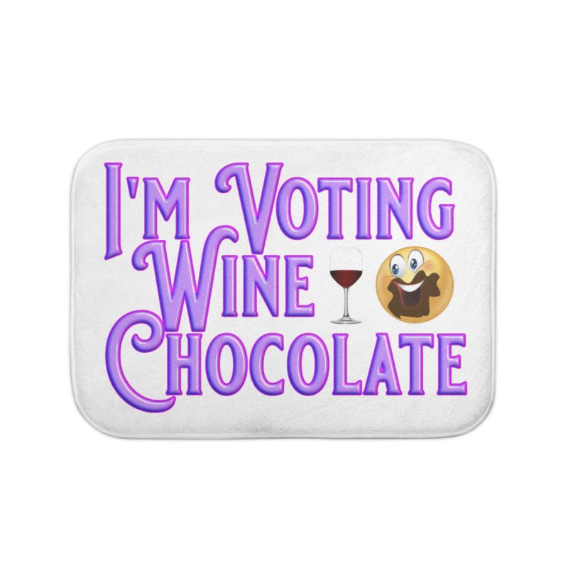 Voting Wine Chocolate Purple Lettering Home Bath Mat by Leading Artist Shop