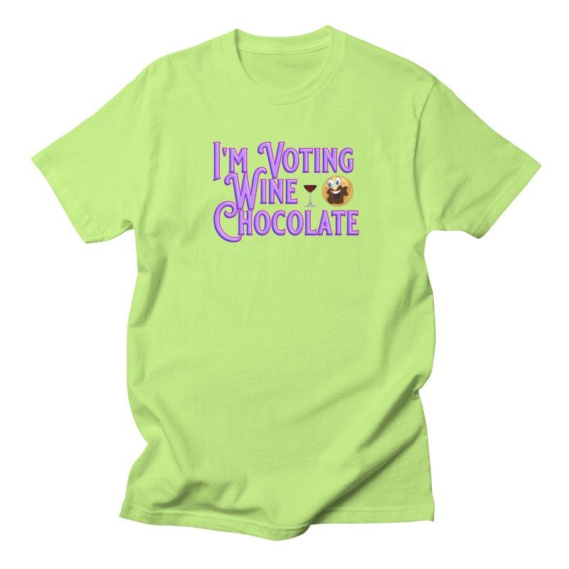 Voting Wine Chocolate Purple Lettering Women's Regular Unisex T-Shirt by Leading Artist Shop