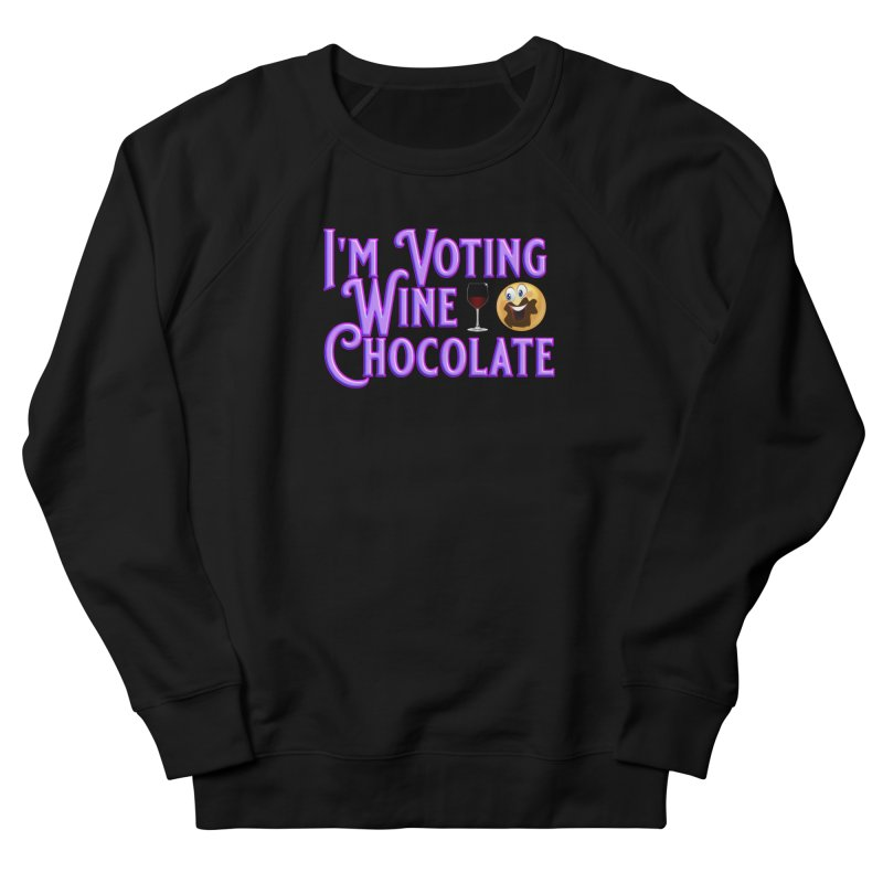 Voting Wine Chocolate Purple Lettering Men's French Terry Sweatshirt by Leading Artist Shop