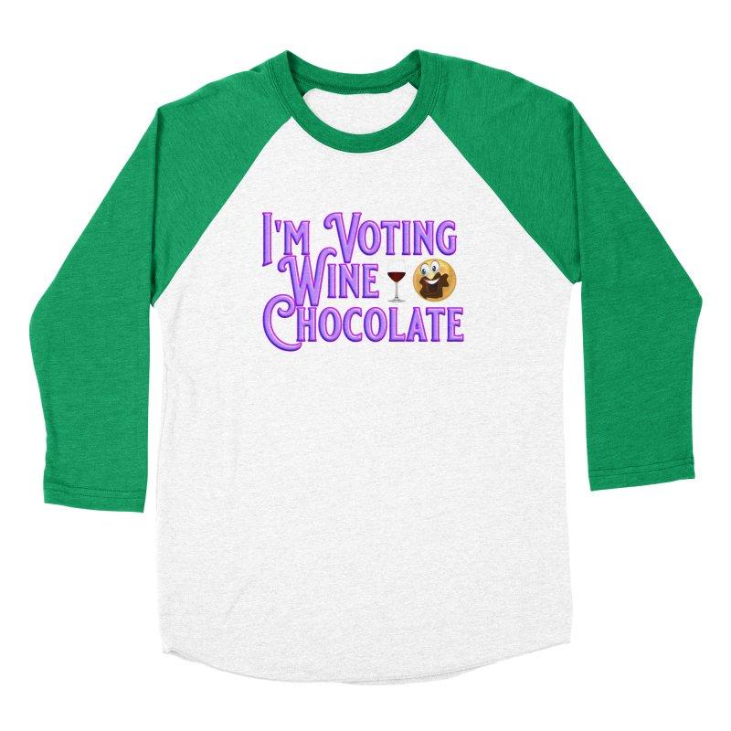 Voting Wine Chocolate Purple Lettering Women's Baseball Triblend Longsleeve T-Shirt by Leading Artist Shop