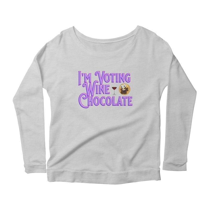 Voting Wine Chocolate Purple Lettering Women's Scoop Neck Longsleeve T-Shirt by Leading Artist Shop