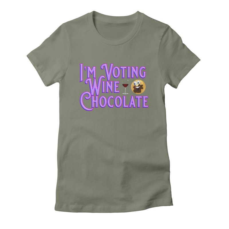 Voting Wine Chocolate Purple Lettering Women's Fitted T-Shirt by Leading Artist Shop