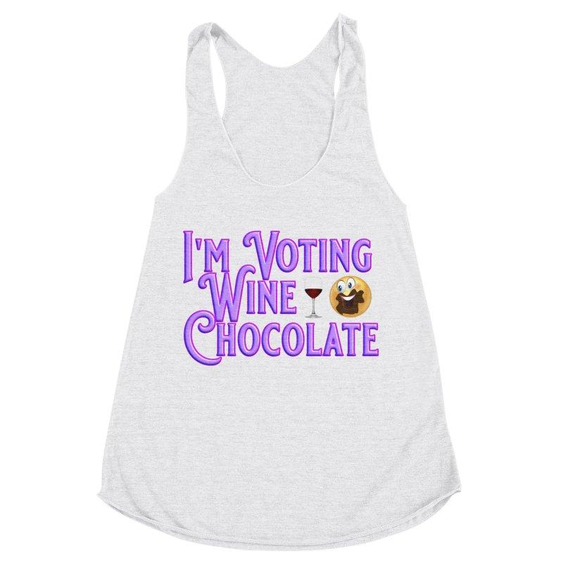 Voting Wine Chocolate Purple Lettering Women's Racerback Triblend Tank by Leading Artist Shop