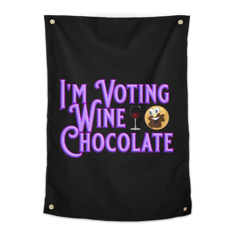 Voting Wine Chocolate Purple Lettering Home Tapestry by Leading Artist Shop