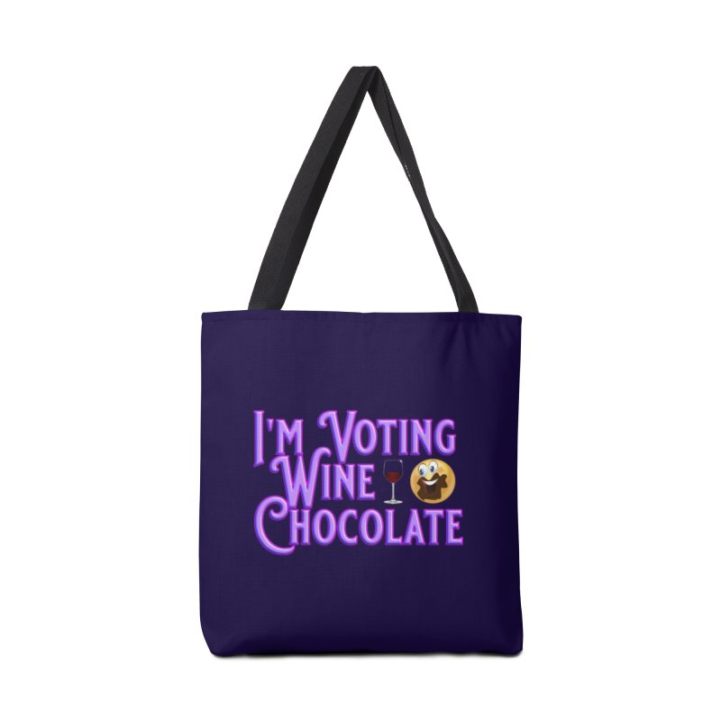Voting Wine Chocolate Purple Lettering Accessories Tote Bag Bag by Leading Artist Shop
