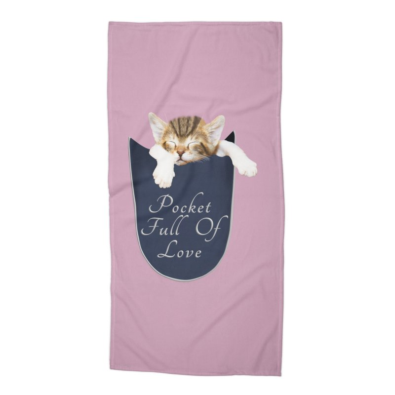 Pocket Full Of Love - Kitten in a Pocket Accessories Beach Towel by Leading Artist Shop