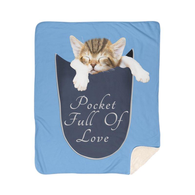 Pocket Full Of Love - Kitten in a Pocket Home Sherpa Blanket Blanket by Leading Artist Shop