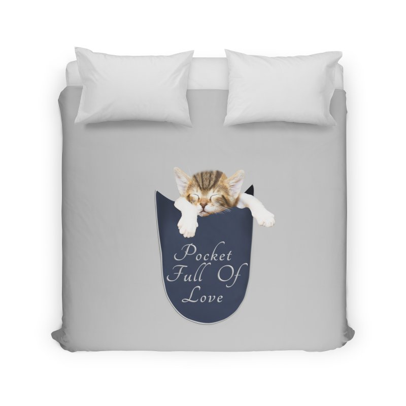 Pocket Full Of Love - Kitten in a Pocket Home Duvet by Leading Artist Shop