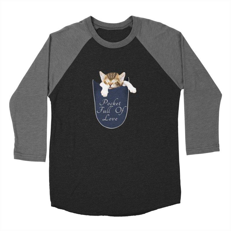 Pocket Full Of Love - Kitten in a Pocket Men's Baseball Triblend Longsleeve T-Shirt by Leading Artist Shop