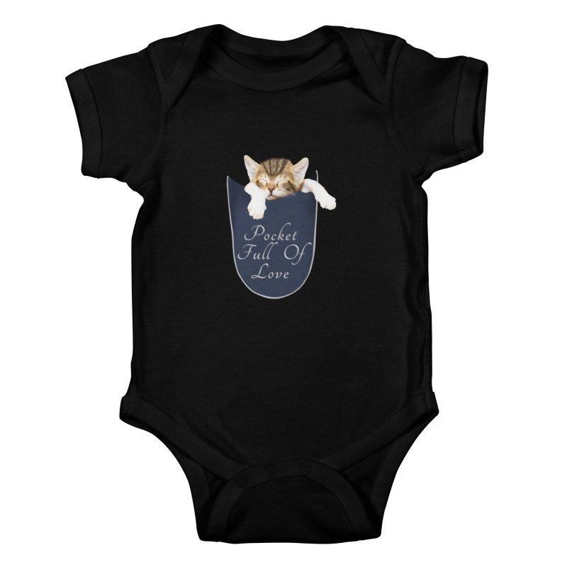 Pocket Full Of Love - Kitten in a Pocket Kids Baby Bodysuit by Leading Artist Shop