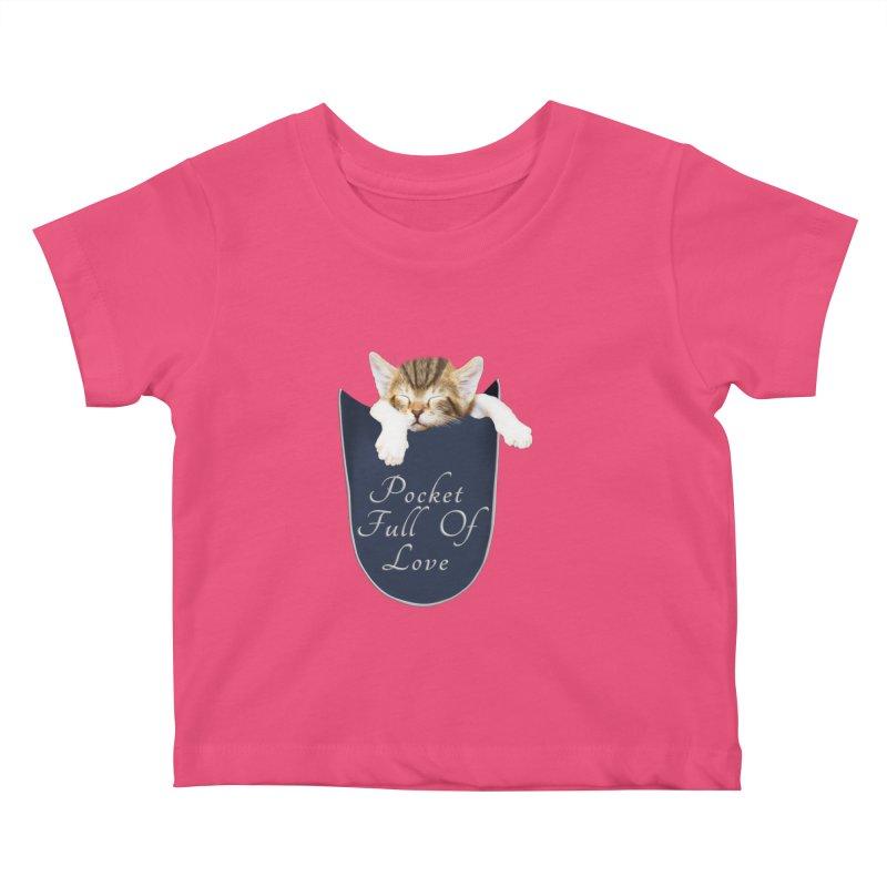 Pocket Full Of Love - Kitten in a Pocket Kids Baby T-Shirt by Leading Artist Shop