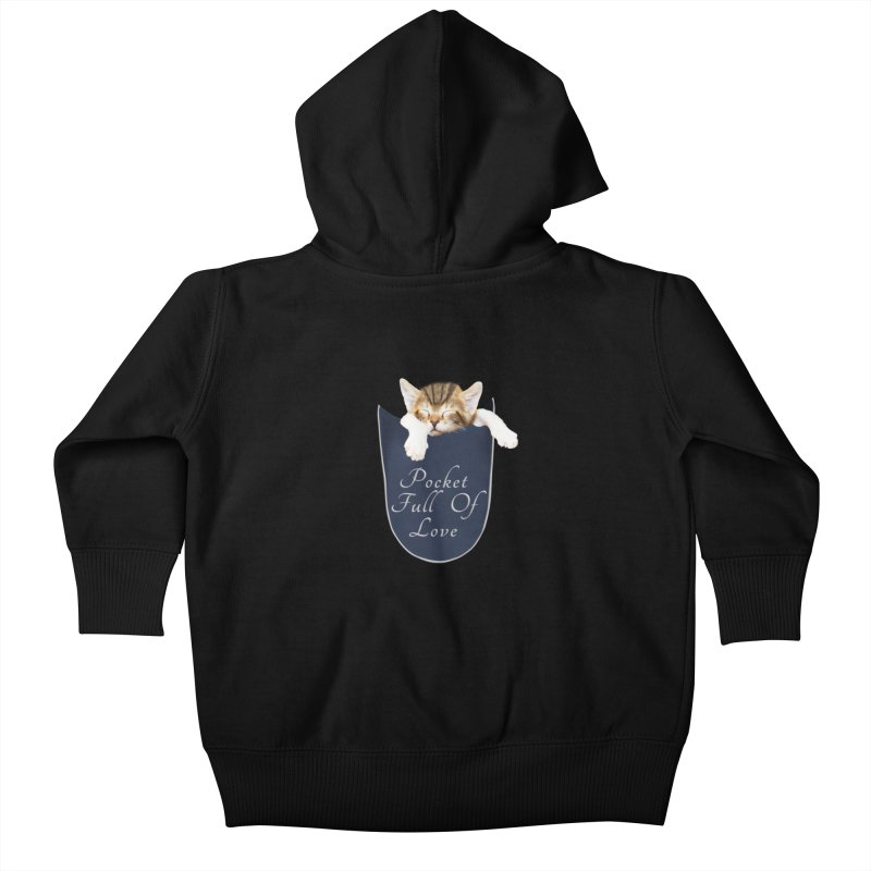 Pocket Full Of Love - Kitten in a Pocket Kids Baby Zip-Up Hoody by Leading Artist Shop
