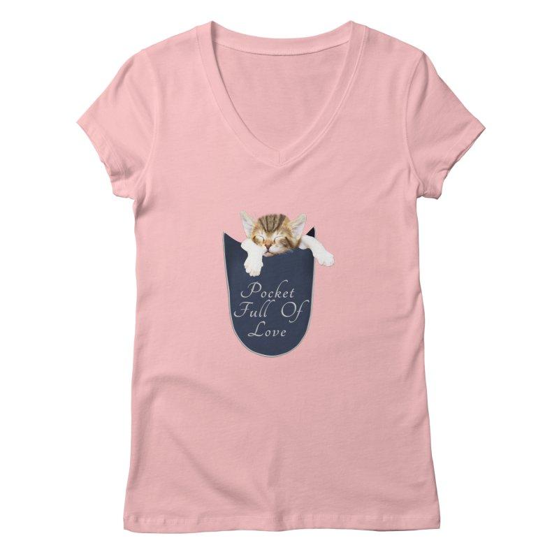 Pocket Full Of Love - Kitten in a Pocket Women's Regular V-Neck by Leading Artist Shop