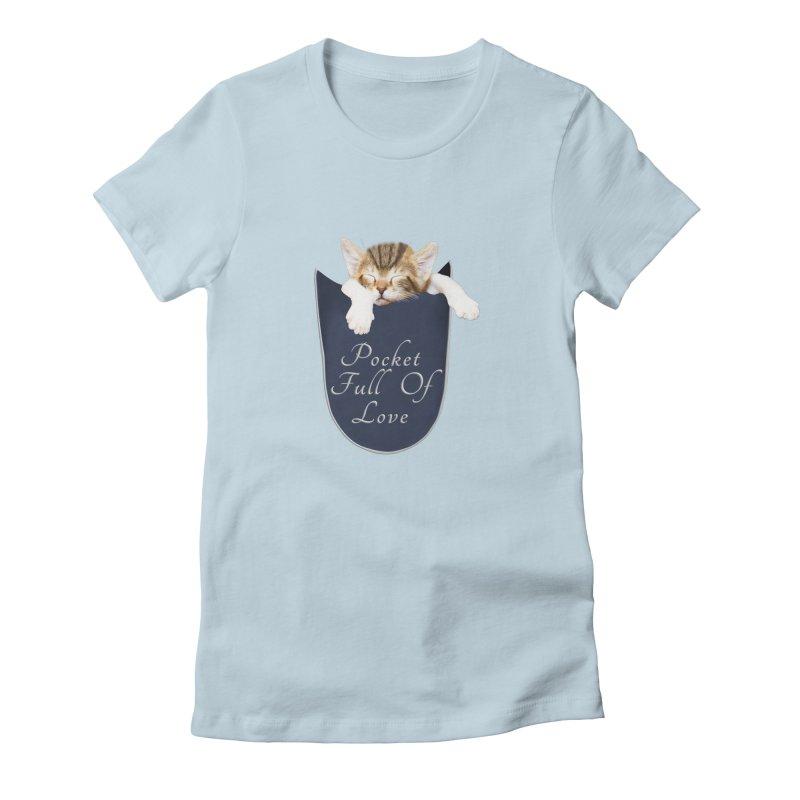 Pocket Full Of Love - Kitten in a Pocket Women's Fitted T-Shirt by Leading Artist Shop