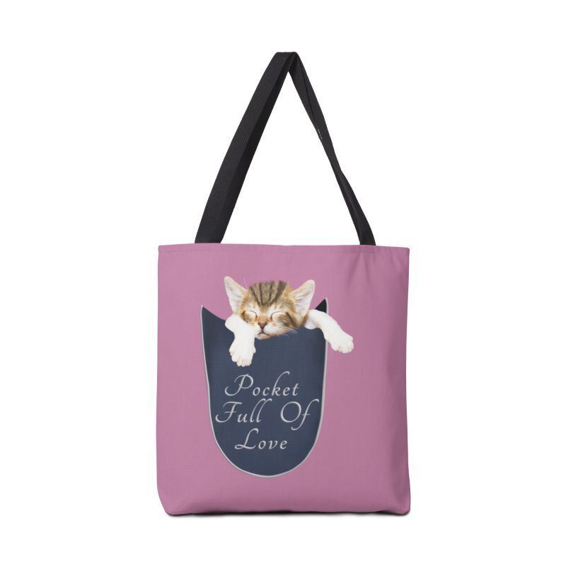 Pocket Full Of Love - Kitten in a Pocket Accessories Tote Bag Bag by Leading Artist Shop