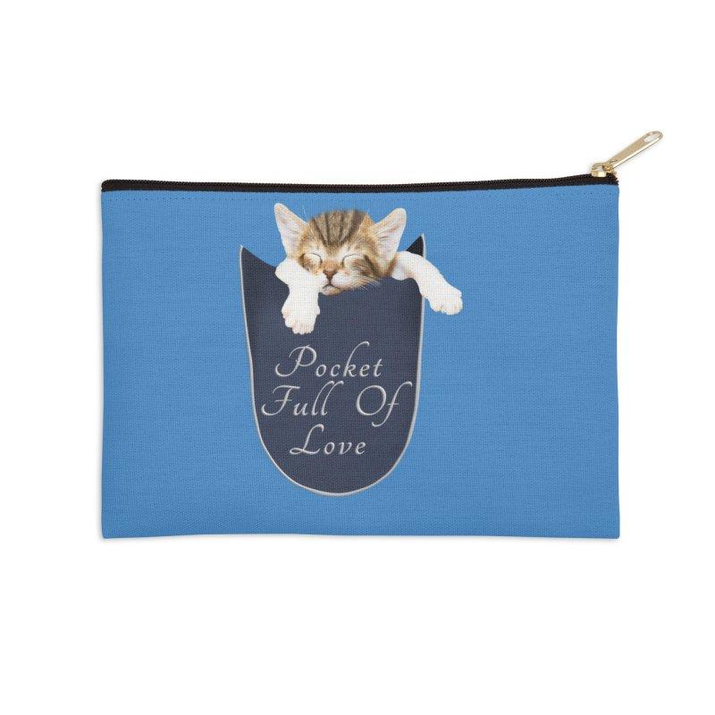 Pocket Full Of Love - Kitten in a Pocket Accessories Zip Pouch by Leading Artist Shop