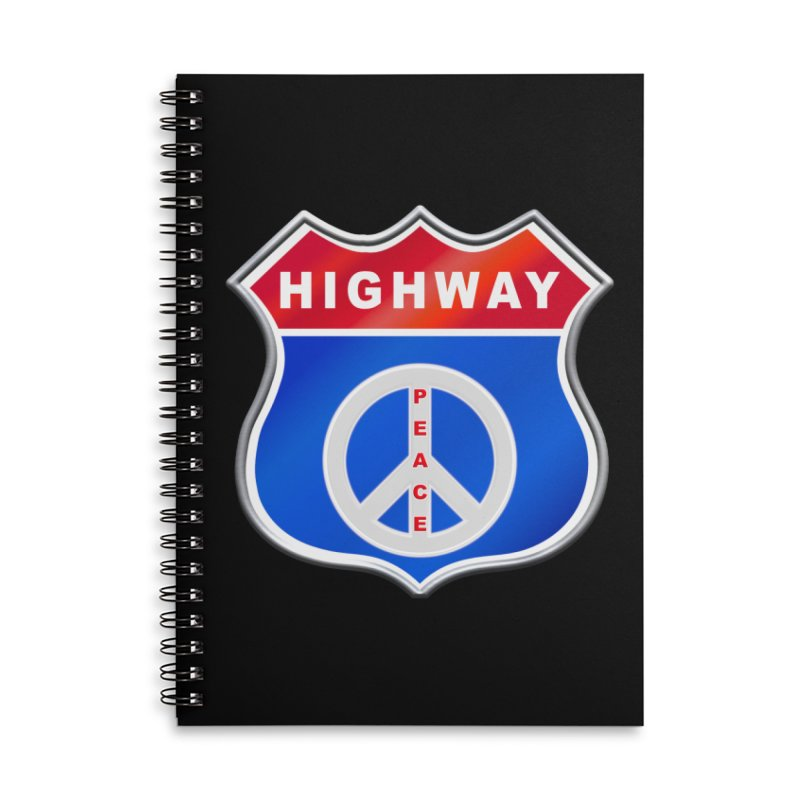 Highway To Peace Shirts Hoodies Buttons n More Accessories Lined Spiral Notebook by Leading Artist Shop