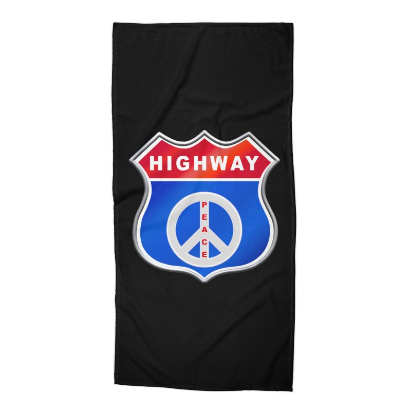 Highway To Peace Shirts Hoodies Buttons n More Accessories Beach Towel by Leading Artist Shop