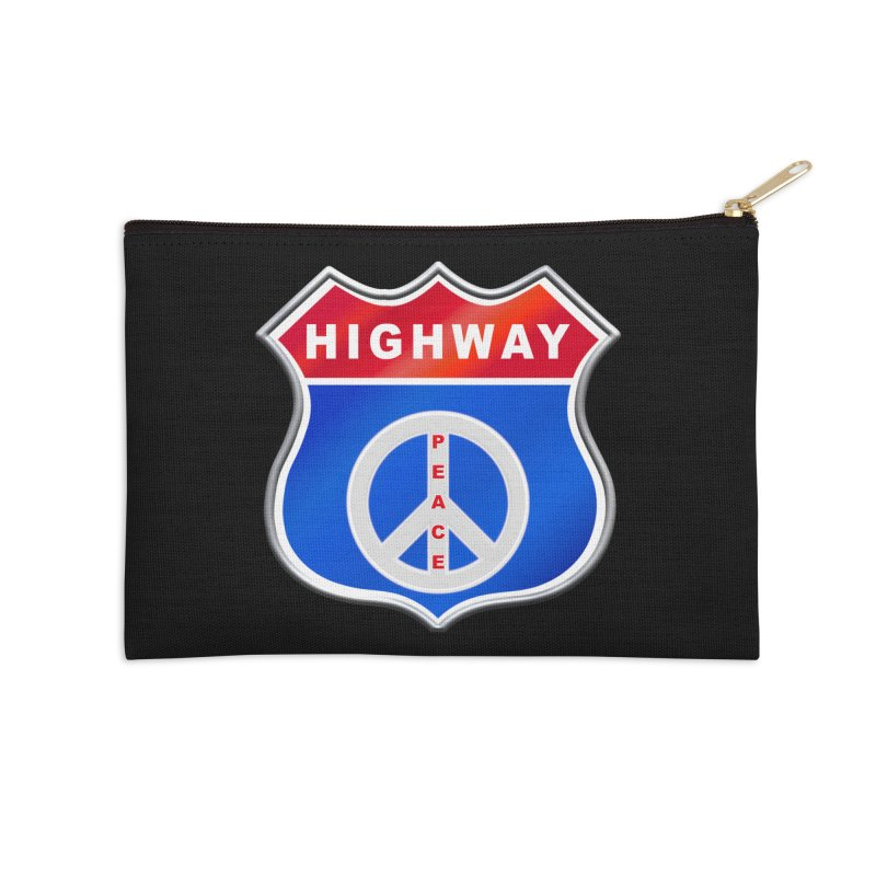 Highway To Peace Shirts Hoodies Buttons n More Accessories Zip Pouch by Leading Artist Shop