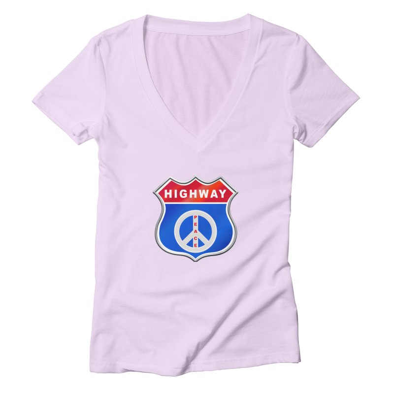 Highway To Peace Shirts Hoodies Buttons n More Women's Deep V-Neck V-Neck by Leading Artist Shop