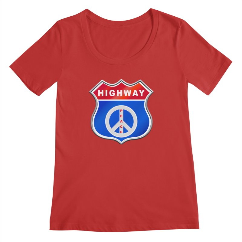 Highway To Peace Shirts Hoodies Buttons n More Women's Regular Scoop Neck by Leading Artist Shop
